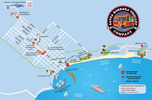 SB Trolley Daily tours map trolley tour highlight
