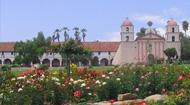 Old Santa Barbara Mission seen on cruise ship tour days