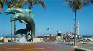Sterns Wharf and Dolphin sculpture