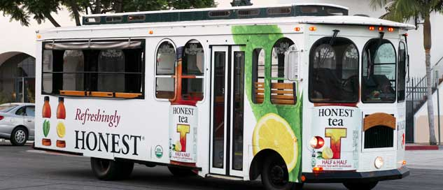 Advertisement example trolley side and front